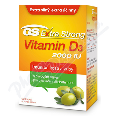GS Extra Strong Vitamin D3 2000IU cps.90 ČR/SK